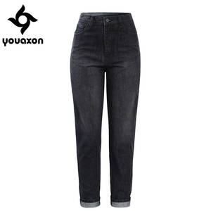 Youaxon High Waist Boyfriend Jeans Black Femme For Women 71de68e255