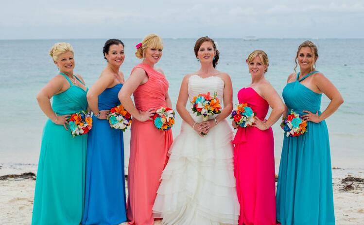 Popular blue beach bridesmaid dresses buy cheap blue beach for Coral bridesmaid dresses for beach wedding