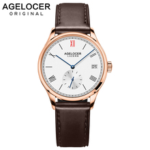 Agelocer Swiss Brand Fashion Ladies Watch Women Gold Watch Leather Sapphire Brown Waterproof Mechanical Wristwatch Montre Femme