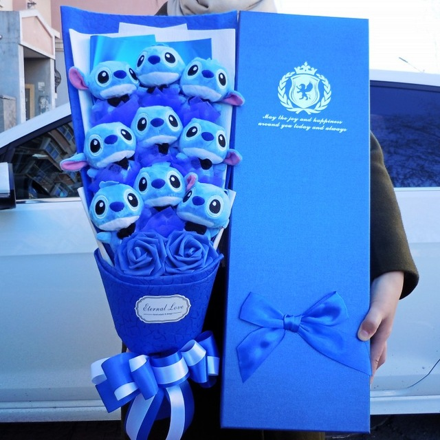 Искусственный прекрасный мультфильм плюшевые игрушки стежка фестивалей подарок букет с поддельными цветы на День святого Валентина Сваде...