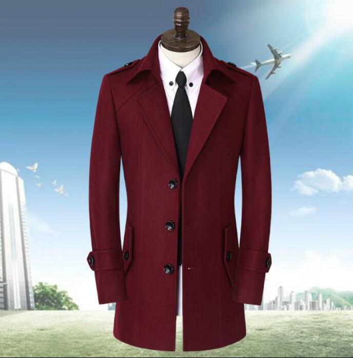 Free shipping wine red autumn casual woolen coat men for Mens red wool shirt