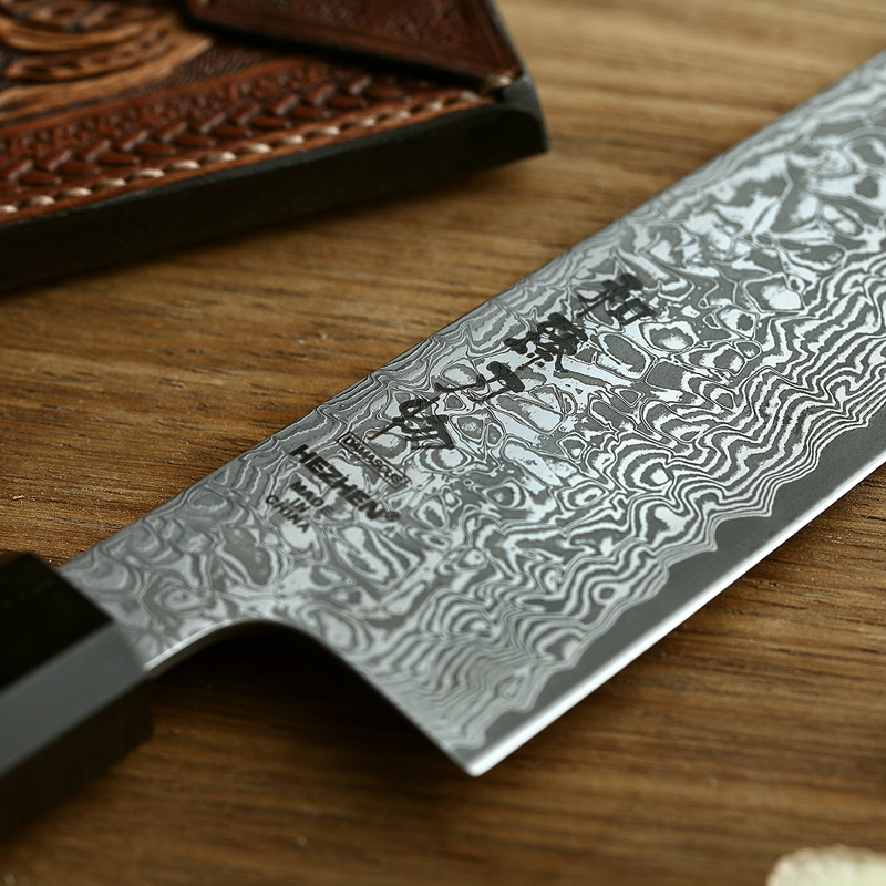 Image 2 - HEZHEN 8.5 Kiritsuke Chef Knife Japan VG10 Damascus Steel Kitchen Knives Nice Cover Cook Tools Ebony Wood+Buffalo Horn HandleKitchen Knives   -