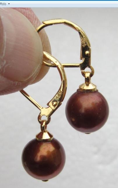 A Pair Of Natural 10mm Australian South Seas Chocolate Pearl Earrings