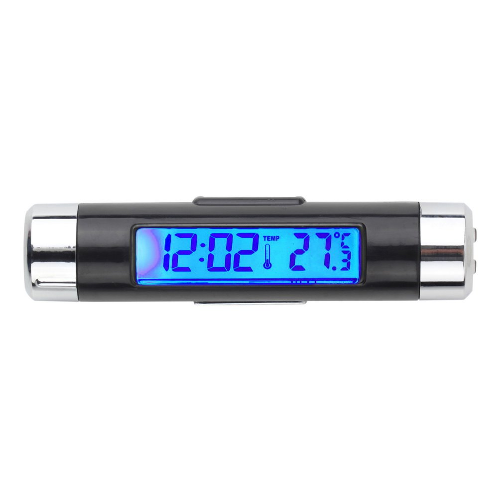 2 In 1 Car Vehicle LCD Digital Backlight Automotive Thermometer Clock Calendar Display Car Air Vent Outlet Clip-On Clock