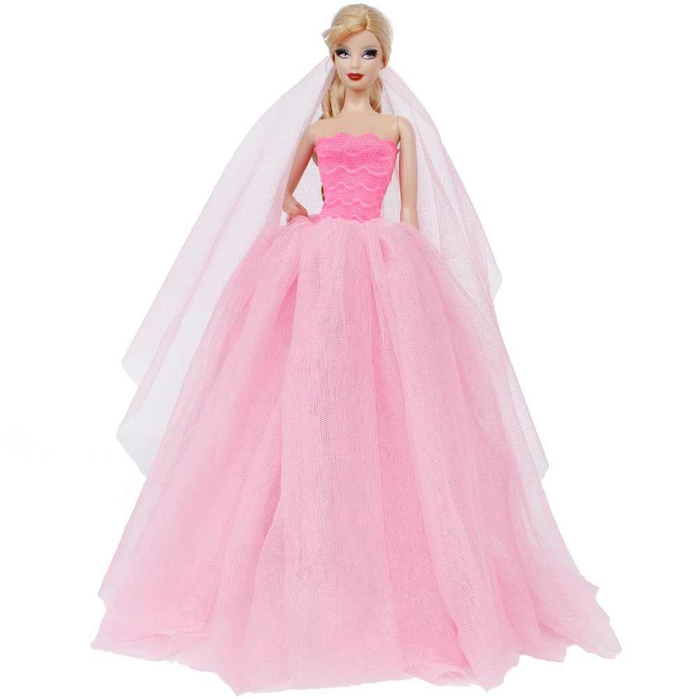 בעבודת יד חתונה שמלת נסיכת ערב מסיבת כדור ארוך שמלת חצאית כלה רעלה בגדים עבור ברבי בובת אביזרי חג המולד DIY צעצוע