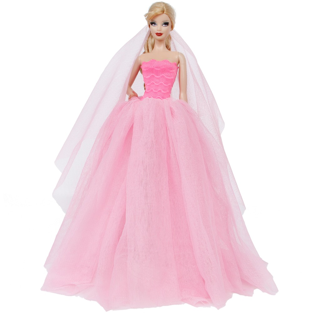 f9cda8c16287 Κούκλες   παραγεμισμένα παιχνίδια Handmade Wedding Dress Princess Evening  Party Ball Long Gown Skirt Bridal Veil Clothes For Barbie Doll Accessories  xMas ...