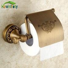 Античная Латунь Цветок Carving держатель туалетной бумаги твердой латуни ванной lavory