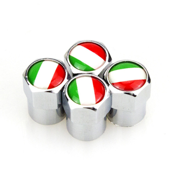 4 X Italian Flag Logo Metal Wheel Tire Valve Caps Covers Car Decoration Accessories for Fiat 500 Abarth 500x 5000L Panda image