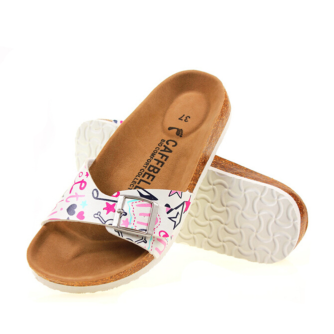 5ad148b74c2 Detail Feedback Questions about 35 43 plus size women cork sandals famous  brand flower printing flip flops unisex buckle slippers beach sandals  Babouche ...