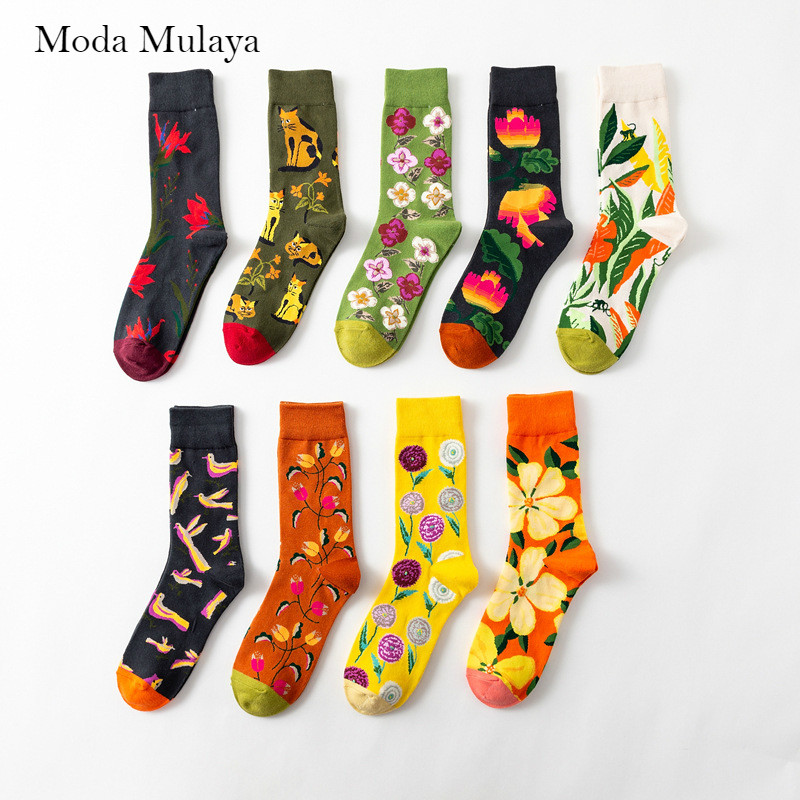 New Arrival Men's Happy Socks Brand Trend 100% Cotton Novelty Crew Funny Socks Men Street Wear Flower Birds Print Socks For Men