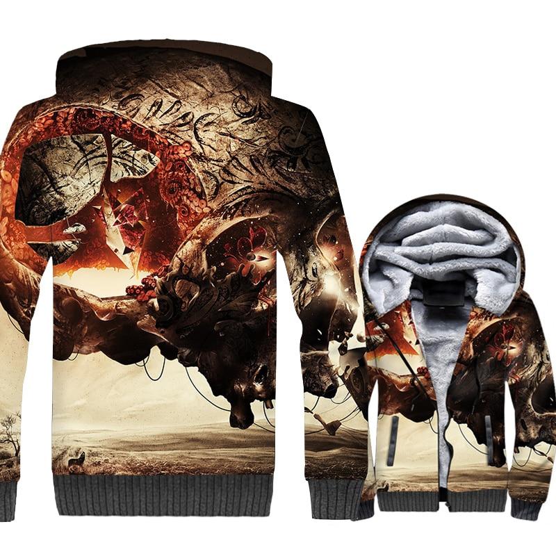 Sukll Jackets Men 3D Hoodie Men Harajuku Sweatshirt 2018 New Winter Thick Fleece Warm Zipper Coat Sweatshirt Hip Hop Streetwear
