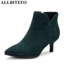 ALLBITEFO natural genuine leather pointed toe winter women boots fashion sexy girls high heel shoes motorcycle boots ankle boots fashion motorcycle boots women extreme high heel round toe dance boots sexy leather irregular ankle boots
