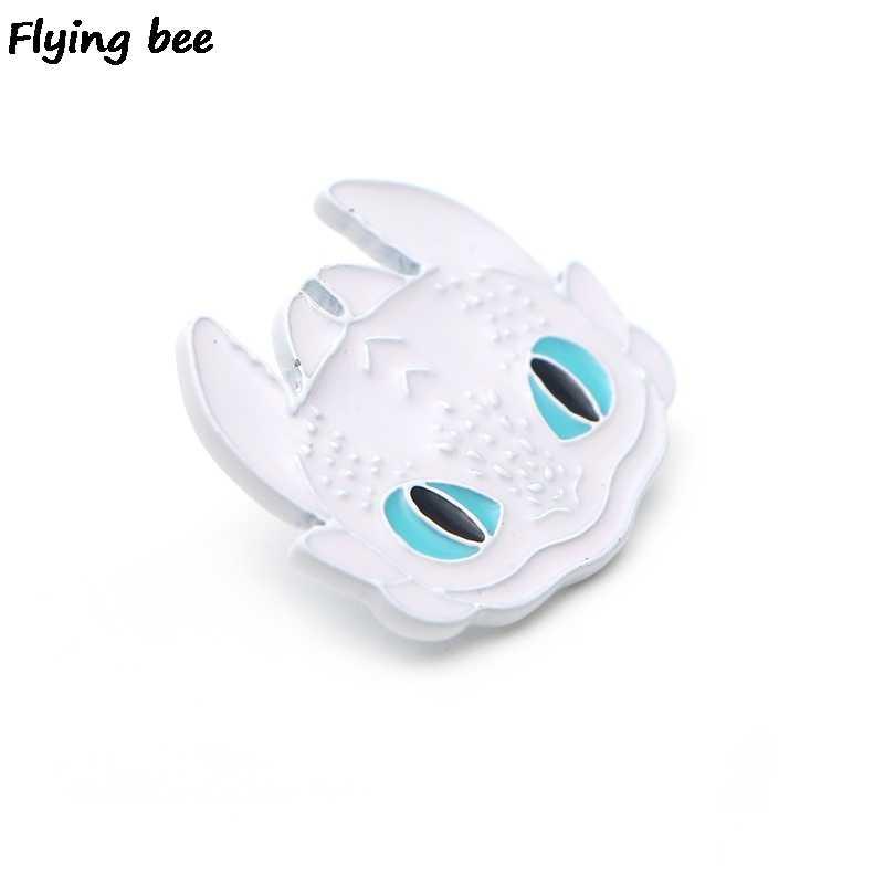 Flyingbee Cara Kereta Naga Anda 3 Night Fury Bros Enamel Pin Ransel Lencana Kepribadian Topi Pin X0170