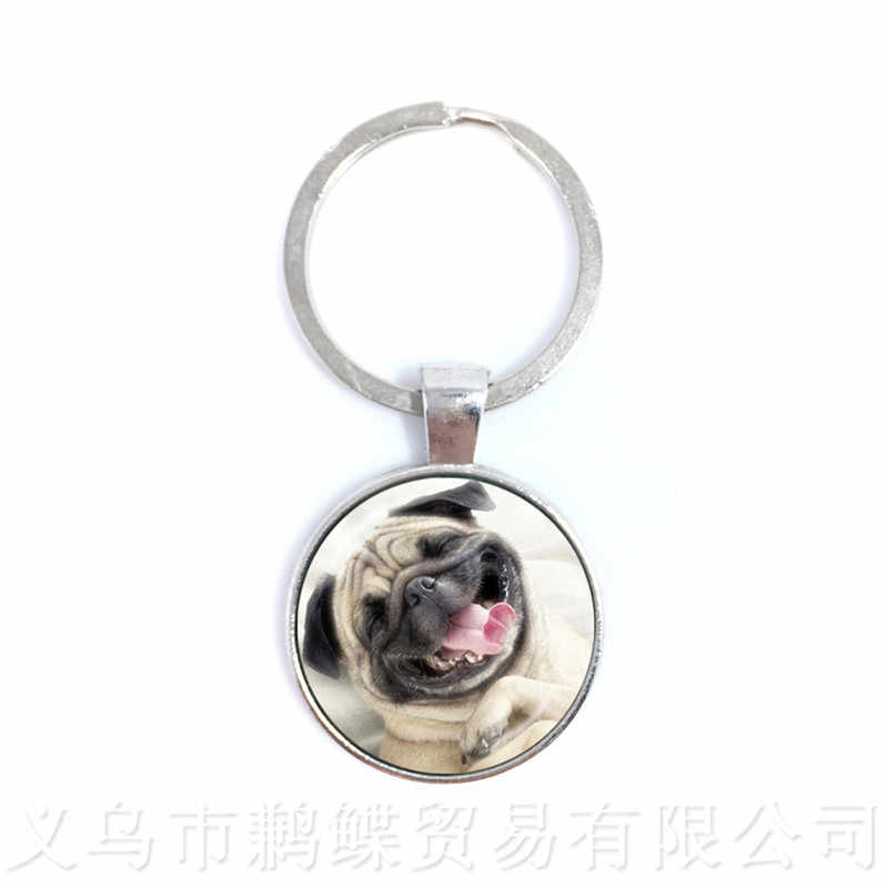 The Animal Keychains Round Glass Dome Dog Pattern Series Keyring Dog Lover Creative Gift Can Customize Your Beloved Pet