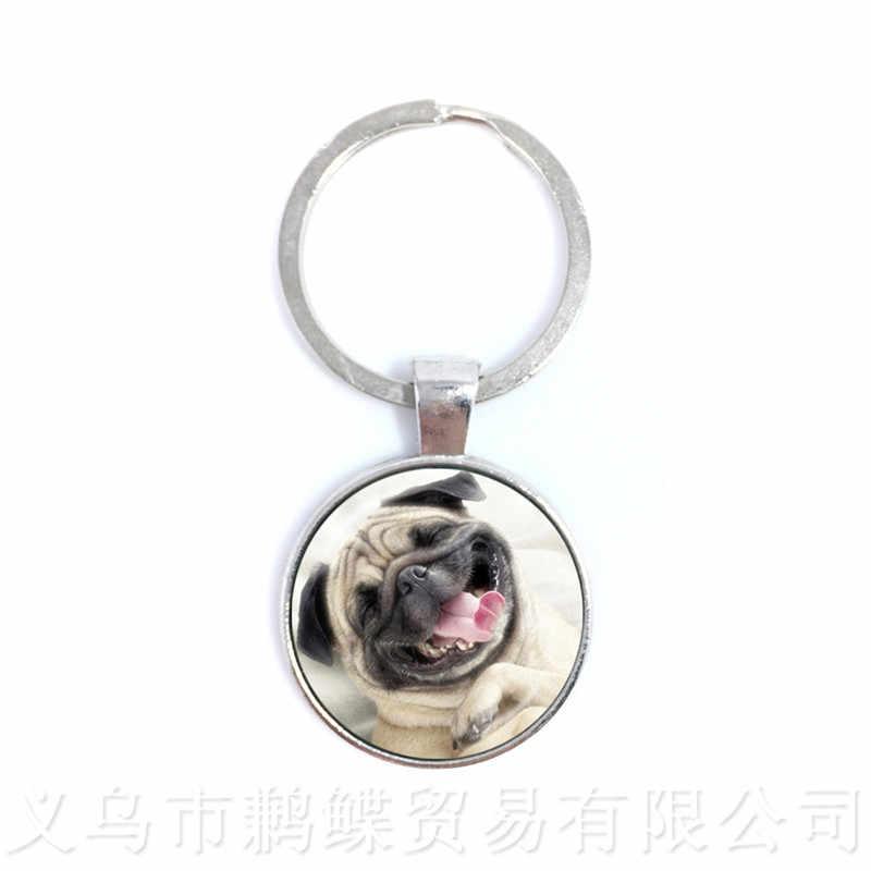В брелоки животные Круглый купол стеклянный с принтом «Собака», брелок Series собачников креативный подарок можем персонализировать футляр для вашего любимого питомца