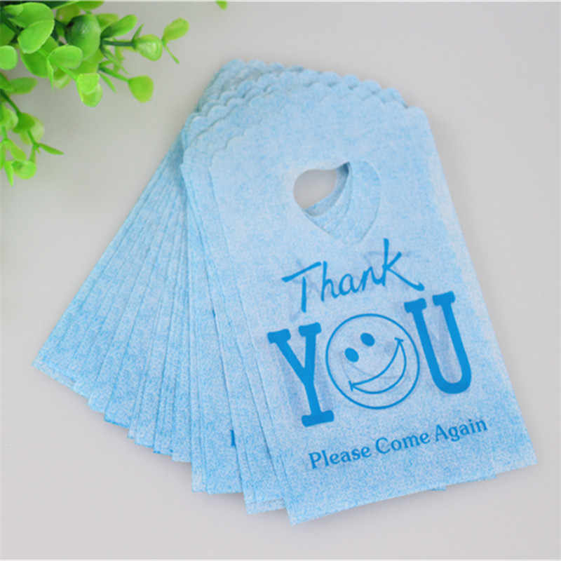 Hot Sale New Style Wholesale 50pcs/lot 9*15cm Blue Thank You Small Gift Pouches With Smile Face Mini Plastic Gift Bags