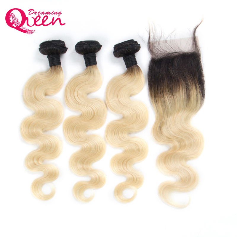 1b 613 Color Ombre Human Hair Brazilian Body Wave Human Hair 3 Bundles with 4X4 Lace Closure Non Remy Hair Dreaming Queen Hair