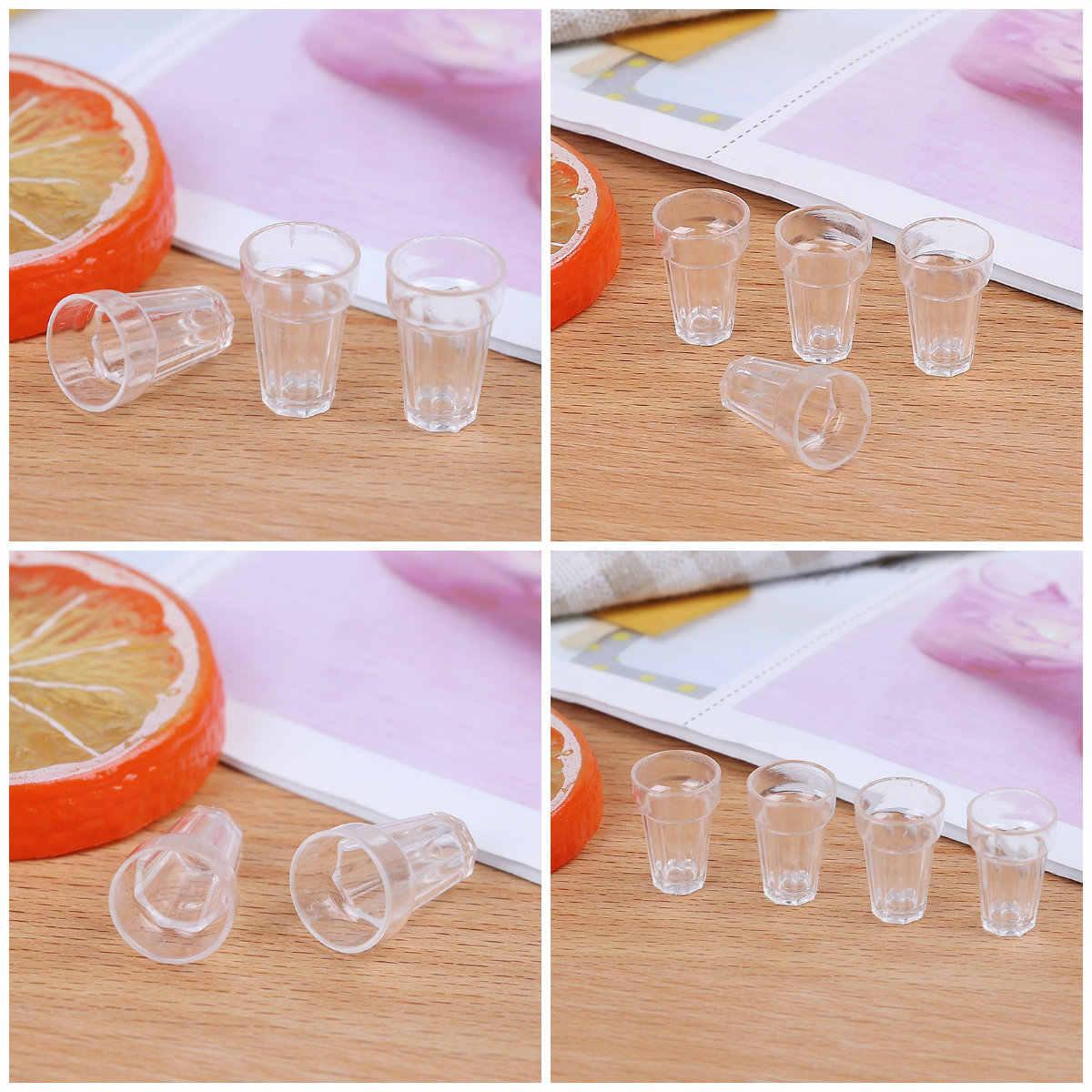 Conjunto de 4 piezas para manualidades en miniatura, transparente, para decoración del hogar, modelo de cristal de 13mm x 19mm, piezas DIY, Mini vaso de cerveza de Cola, casa de muñecas