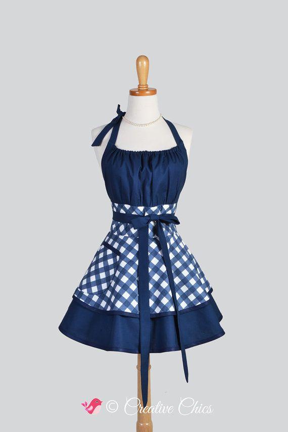 Delantal de cocina Retro azul y negro de Gingham, delantal de cocina de algodón para mujer, vestido Vintage