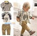 2014 New baby boy set  3 pcs suits t-shirt+plaid overshirt+pants Autumn Spring children wearing clothes casual set kids suit