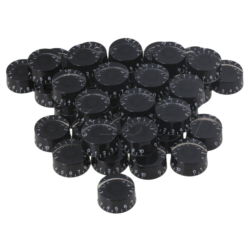 Yibuy 200x Speed Control Knobs Black with White Number for Electric Guitar