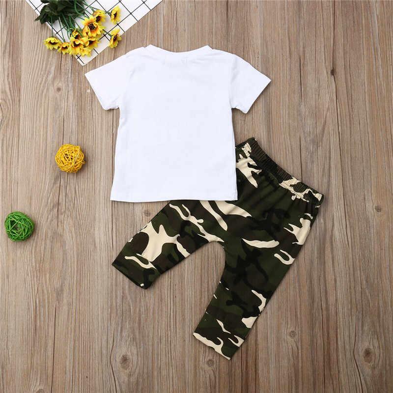 Pudcoco nowonarodzone dziecko chłopcy ubranie krótki rękaw t-shirt + długie spodnie kamuflażowe odzież bawełniana noworodki ubrania zestaw