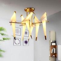 Modern LED chandelier ceiling Nordic illumination birds deco lighting fixtures living room hanging lights loft suspended lamps