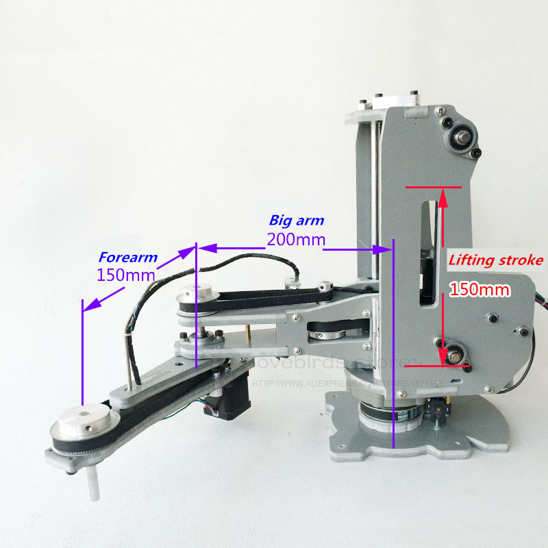 CNC manipulator robotic arm Harmonic reducer Stepper motor 4 DOF palletizing robot Model for Teaching and Experiment 4 dof cnc aluminum robotic arm frame palletizing robot model 4 asix robot arm 4 servos
