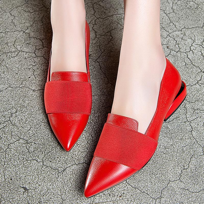 Street Formelle Chaussures Beige Vache Glissement Femmes Ol Cuir Fashion Pompes Talon Carré Dames Sur noir High En L'europe Printemps Véritable Bout rouge Bureau Pointu RtqwYx