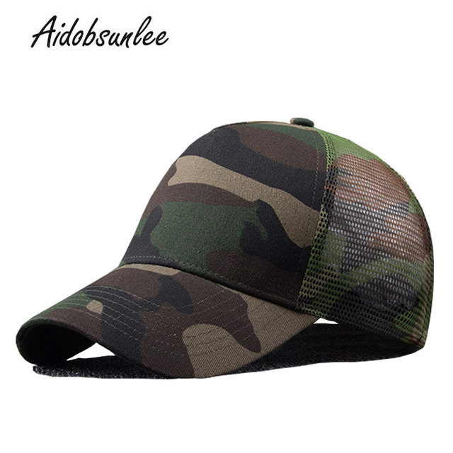 2017 New Arrival MEN'S HATS Men Camo Baseball Caps Mesh for Spring Summer Outdoor Camouflage Jungle Net Ball Base Army Cap Hot