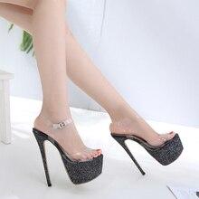Nuevo verano mujeres PVC transparente mujeres tacones altos Sandalias Mujer  Sexy punta abierta zapatos de plataforma del Partido. 1204a6578ddb