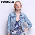 /DENYBULES/ Denim Jacket For Women 2017 Spring Vintage Embroidery Washed Light Blue Jean Short Jackets Women Slim Coat  Y707