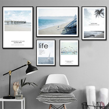 HAOCHU Home Hotel Mural Canvas Decoration Painting Nordic Modern Ocean Beach Seabird Landscape English Letters Wall Art Poster