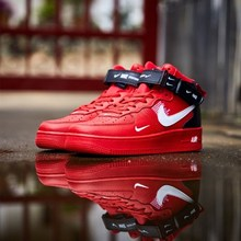 NIKE AIR FORCE 1 New Arrival Men Skateboarding Shoes Red Origianl Air Cushion Anti-Slippery Sneakers #804609-605