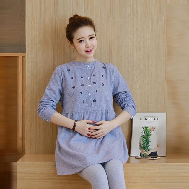fc36a6d09 2017 maxi blusa vestidos de ropa de maternidad embarazo tops tees clothing  azul de manga larga