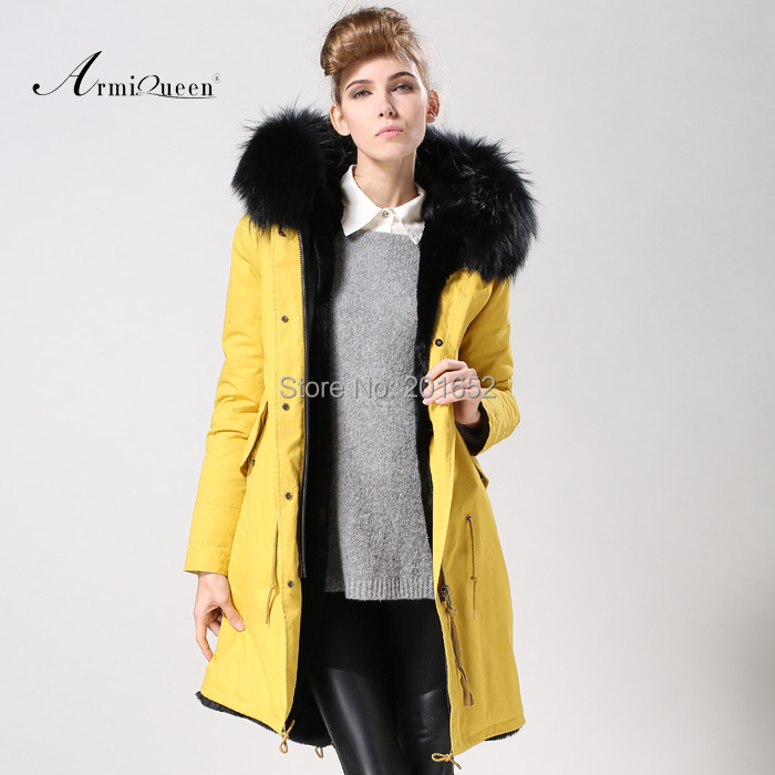 2015 free shipping Winter Women Parka Outerwear Yellow Jacket With Large raccoon Fur Collar Plus Size S - XXXL fur Long Coat mr