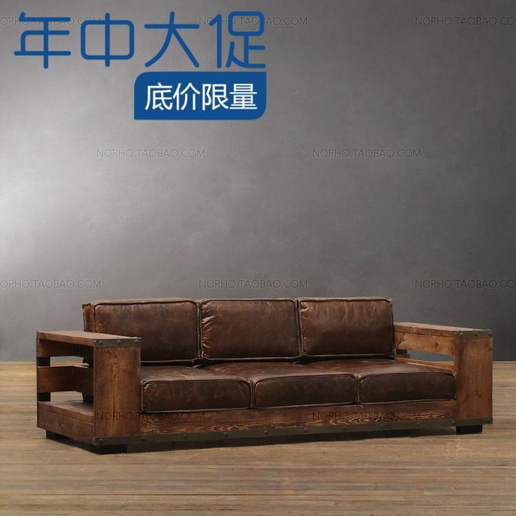 Continental Sofa Combination Of Solid Wood IKEA Loft Iron Do Old Industrial Retro Living Room 3 Leather In Dressers From Furniture On Aliexpress