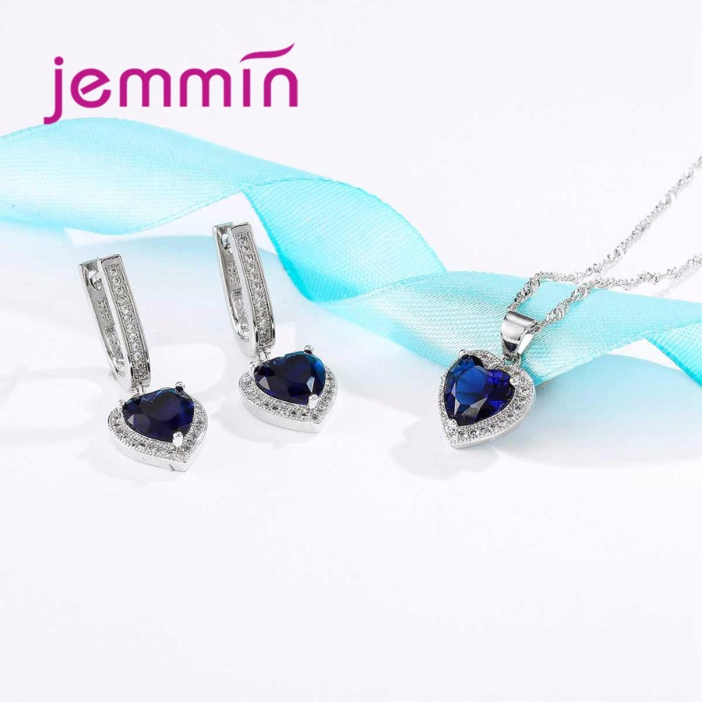 HTB1A46MXL HK1JjSszhq6ycIVXaF Hot Sale Heart Shape Bule Crystal 925 Sterling Silver Necklace And Earrings Set For Women Female Party Engagement