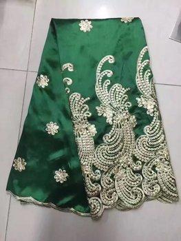 Zielona afrykańska tkanina George gorąca sprzedaż cekiny haftowane koronki tkaniny 2017 wysokiej jakości nigeryjski George koronki 5 metrów tanie i dobre opinie ZZWXF CN (pochodzenie) Haftowana 100 bawełna george fabrics Other 125cm Przyjazne dla środowiska as picture 5yards(125cm*450cm)