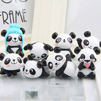 8pcs Mini Cute Panda Micro Figures Toys Cake Toppers for DIY Micro Landscape Fairy Bonsai Garden Decorations Birthday Cake Decor