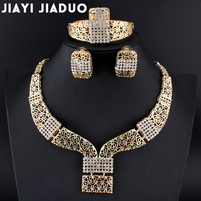 jiayijiaduo Wedding African Beads Jewelry Sets Band Gold-color Bridal Necklace Earring Nigerian jewelry for women drop shipping
