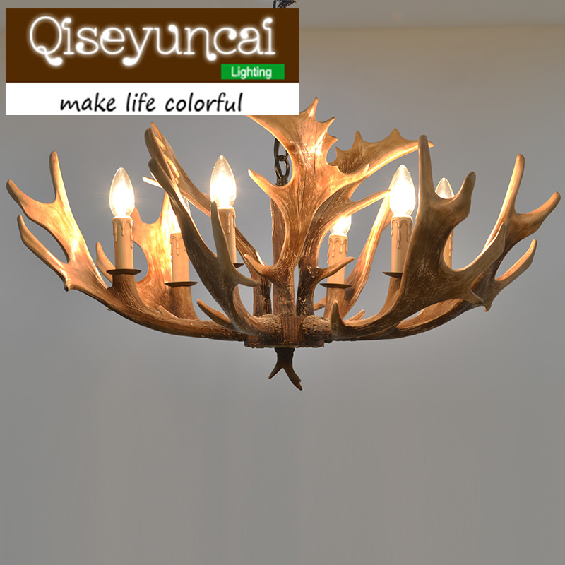 Qiseyuncai American country antlers 6 head candles art chandeliers clothing stores retro antique lighting