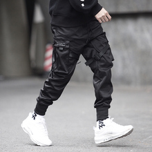 Nopnogn ribbons hip hop punk rock cargo pants with many pockets street style joggers