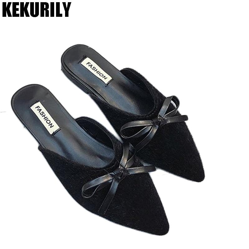 Обувь женщина лук Направляющие Шлёпанцы для женщин пикантные леопардовые мул женские туфли на низком каблуке с острым носком Сандалии для ...