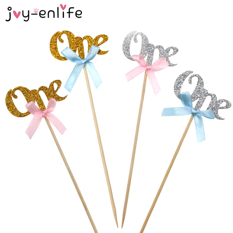 JOY-ENLIFE 12pcs Sparkling One with Blue or Pink Ribbon Bow Cupcake Topper 1st Birthday Baby Shower Cake Topper Party Decor