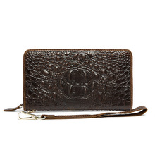 Special offer clearance Cow Leather wallets business Korean coffee three-dimensional relief crocodile pattern mens Clutch bags