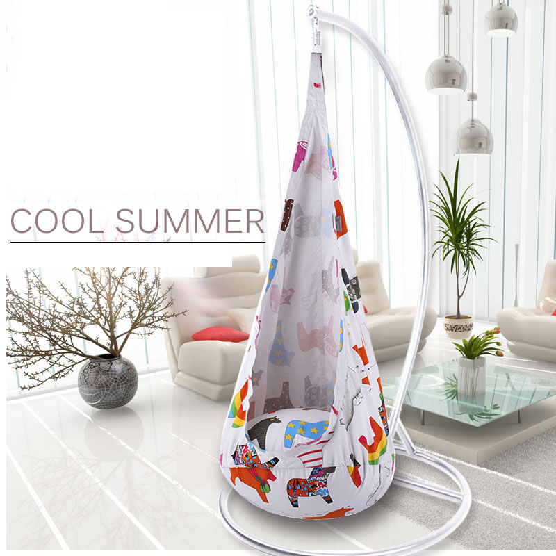 Cute Colorful Printed Cartoon Children Swing Chair Hammock Garden Furniture Indoor Outdoor Hanging Seat Child Kids Seat Patio children hammock swing chair indoor outdoor portable hanging pod seat toy for children kids boy girl christmas birthday gift