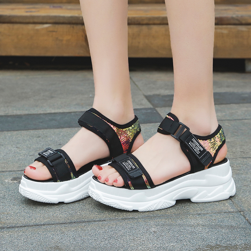 HTB1A46yd8Kw3KVjSZTEq6AuRpXat Fujin High Heeled Sandals Female Summer 2019 Women Thick Bottom Shoes Wedge with Open Toe Platform Shoes Increased Shoes