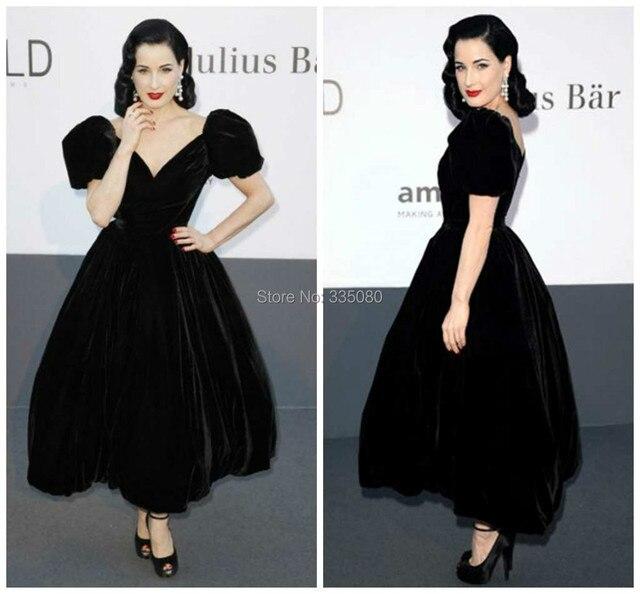 a75a98686a CBD-091 DITA VON TEESE Aline V-neck Formal Evening Gowns Dress Velvet Black  Ankle Length Cap Sleeves Celebrity Red Carpet Dress