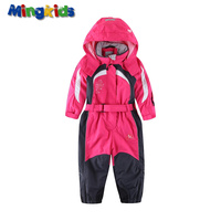 Mingkids Snowsuit Girl Rompers Ski Jumpsuit Outdoor Spring Autumn Warm Snow Suit Waterproof Windproof Padded Hooded